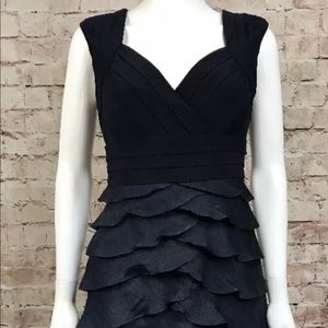 Adrianna Papell navy blue ruffle tiered dress sz 8